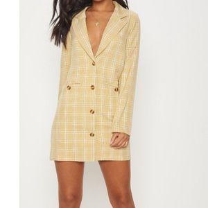 Beige Check Print Tortoise Button Blazer Dress
